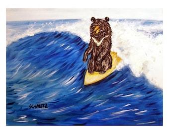 Black Bear Surfing Art Print