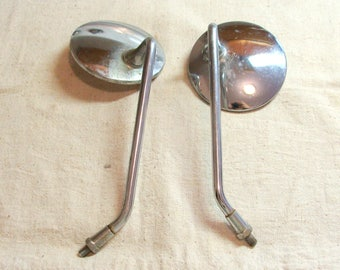 Vintage Pair of Motorcycle Mirrors, Early 1970's Patent Date, Made in Japan
