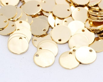 10 Pcs 12mm 24k Shiny Gold Disc, Stamped Disc, Coins, a holes disc, Stamp, Stamping tag DOM47