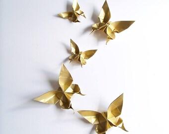 Set of 5 Golden origami butterflies