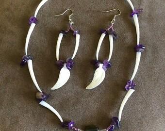 Amethystand dentillium  Necklace earring set