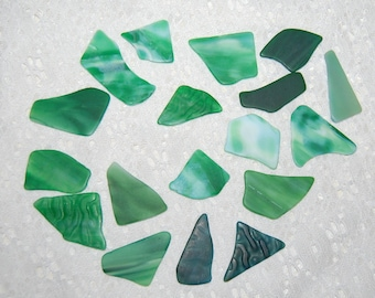 Assorted Green Faux Sea Glass undrilled lot - 16 pieces