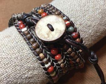 Leather Wrap Bracelet 'Red River Rock' 5X