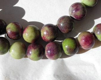 12 12 mm olive green jade beads, Burgundy stone of life