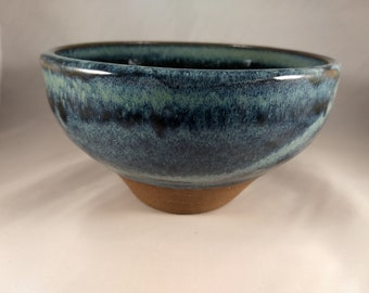 "6.25"" Chattered Blue/Green Ceramic Bowl"