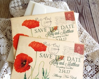 Vintage carte postale avec Orange coquelicots mariage Save the Date de cartes à la main par avintageobsession sur etsy