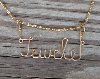 Jewele Name Necklace, Handcrafted Cursive Name in Script, Gold or Silver, Personalized Name Your Choice, Jewele Name jewelry, Mom Gift
