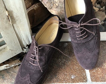 AB donkers, vintage lace up shoes, Oxford, ladies, 39eu/6uk, lace up shoes, brown leather, made in Holland.