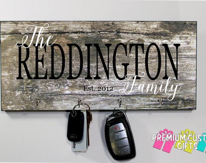 Monogram Wooden Key Holder - Wedding Gift - Anniversary Gift - Housewarming Gift - Wood Look Design on MDF - Key Hanger Design #KH168