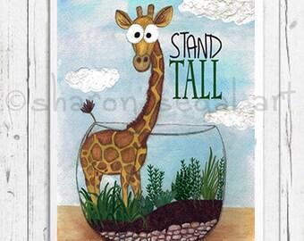 Giraffe print. Stand tall print.  Giraffe inside terrarium.  Motivational. Kids decor. Nursery art. Giraffe decor. Giraffe gift.