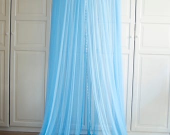 Blue Baldachin -  Tulle Canopy, Crib  Bed Mesh Canopy, Nursery canopy, Bed canopy, Play room canopy, Hanging Canopy, Nook, Photo