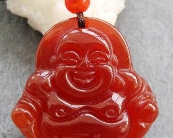 Red Agate Pendant Bead Design Tibet Buddhist Happy Buddha Amulet Talisman Good Luck 29mm x 29mm  T2430