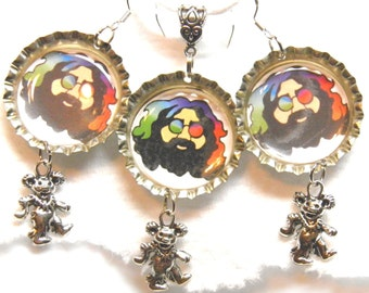 Grateful Dead Necklace and Sterling Silver Earrings Tie Dye Jerry Garcia Deadhead Hippie Jewelry Dancing Bears Grateful Dead Jewelry OOAK #3