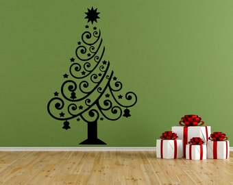 Christmas Tree Vinyl Wall Decal, Decor, Sticker, Free US Shipping, Black Or