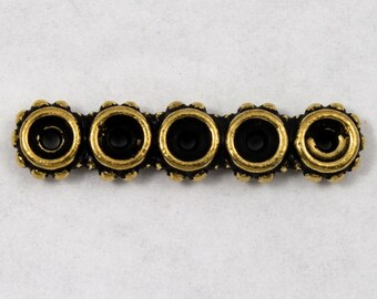 6mm x 26mm Antique Gold Tierracast Beaded Five Hole Spacer Bar #CKB123