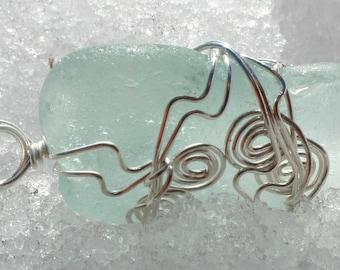 Light Blue Sea Glass Pendant, Wedding Jewelry, Sterling silver pendant,