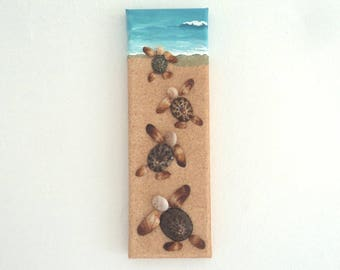 Turtles,  Artwork with Seashells & Sand, Art Wall Picture of Turtles, Turtles in Seashell Mosaic, Mosaic Art, 3D Art Collage, Home Decor