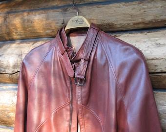 Sz 38 Mens Leather Coat Brown Leather Jacket Unisex Cropped Jacket European Leather Designer Fashion Spain Motorcycle jacket Mandarin Collar
