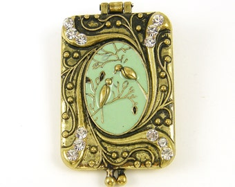 Antique Brass Locket with Birds Green Enamel and Rhinestones Vintage Style Magnetic Closure |B7-17|1