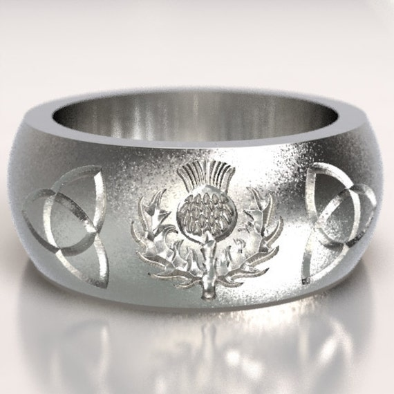 Scottish Thistle Ring with Trillian Engraved Celtic Knots Ring Design in Sterling Silver, Made in Your Size CR-5051