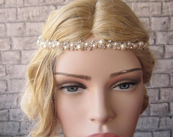 Rhinestones and Pearl Wedding Headband / bridal headband, wedding headband,headpiece,Wedding hair accessories