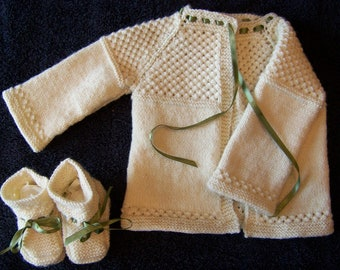 Knitted Wool-blend Baby Sweater and Booties