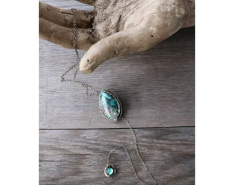 "Chrysocolla and Green Onyx Lariat Necklace- ""Drift"""