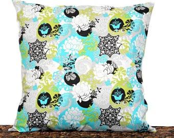 Lotus Flower Yoga Pillow Cover Cushion Turquoise Chartreuse Gray Black White Damask Paisley Decorative 18x18