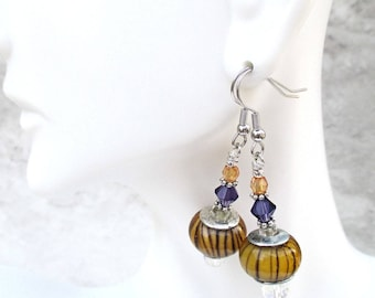 Orange Crystal Earrings, Purple and Orange Jewelry, Hypoallergenic Earrings, Nickel Free Funky Earrings, One of a Kind Gift for Her 2in