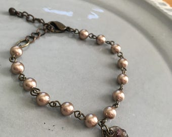 Bronze Pearl Bracelet Beaded Jewelry Boho Crystal Charm Adjustable