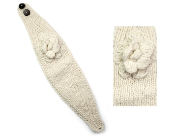 Hand Knit Wool Headband, Womens Winter Earwarmer - Cream - 1735W