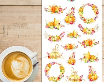 Autumn Pumpkin Planner Stickers | Watercolour Pumpkins | Watercolour Stickers | Autumn Fall Stickers | Floral Stickers (S-258)