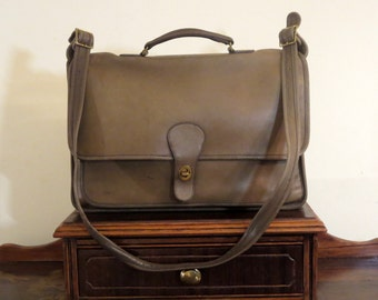 Dads Grads Sale Coach Metropolitan Briefcase In Sage Leather- Made in New York City U.S.A. Rare Color- VGC