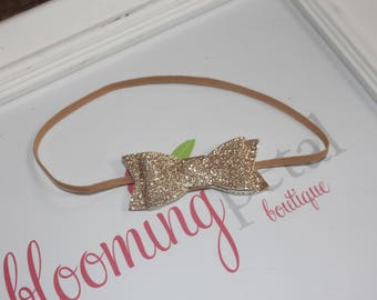 Glitter Bow Skinny Elastic Headband