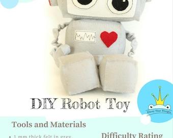 Robot Toy PATTERN. Kids Plush Robot Sewing Pattern // DIY toy.