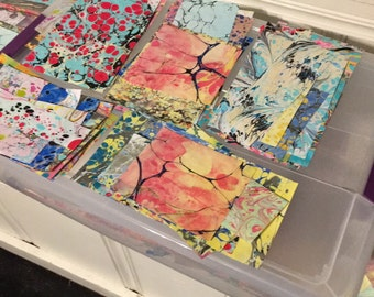 Marbled Texoprint Paper scrap packs,marble paper,handmade paper