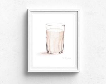 Glass of Milk, Food PRINT, Kitchen Decor, Dining Room Art, Playroom Art, Kitchen Wall Art, Food Painting, Food Illustration, Cookie, Milk