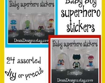 24 Baby Superhero baby shower Party stickers Super hero party decorations party cup stickers Superhero party favors Superhero Birthday decal