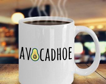 Avocadhoe Mug, Avocado Lover Mug, Avocado Gift, Avocado Lovers Gift, Gift For Her, Gift For BFF, Funny Avocado Gift, Funny Avocado Mug, Gag
