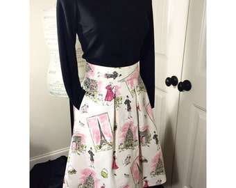 Paris Skirt , lined skirt, t length skirt, pleated skirt