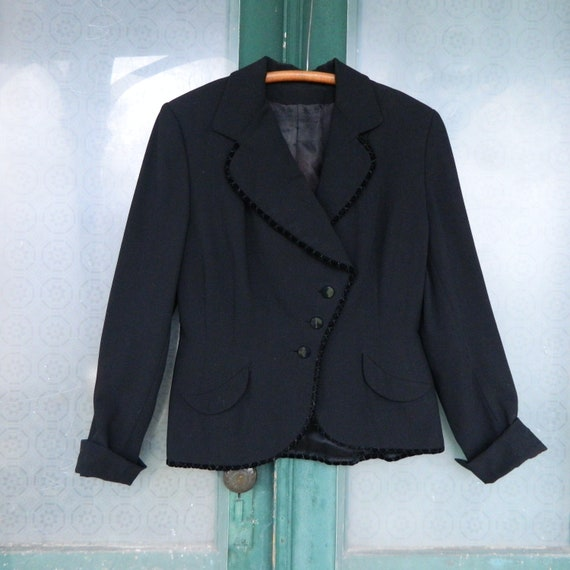 Retro 1940s Velvet-Trimmed Suit Jacket S/M Black with Satin Lining