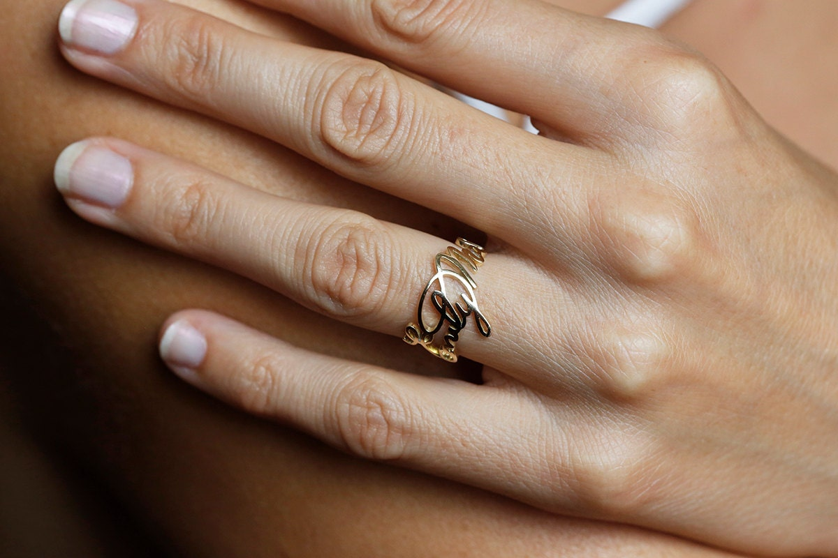 Gold Signature Ring Gold Personalized Ring 14k Personalized