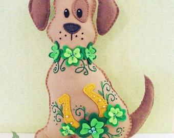 Dog Stuffed Animal Pattern - Felt Plushie Sewing Pattern & Tutorial - Lucky the St. Patrick's Day Dog - Embroidery Pattern PDF