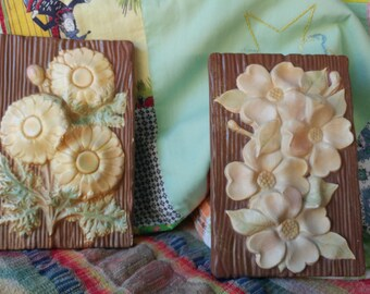 Vintage 1950s Floral Chalkware wall hangings