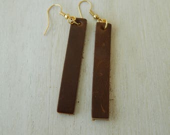 Long dark brown leather earrings with, boho chic earrings, handmade jewelry, long leather earrings, summer jewelry