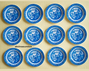 Dollhouse Miniature 1:12 Scale - Set of 12 Blue Willow Paper Plates Kitchen Tableware Picnic Outdoor