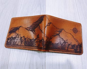 Mountain wallet/Man wallet/leather wallet/forest/tree wallet/custom wallet/boyfriend gifts/birthday gift/anniversary wallet/Gift for him