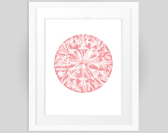 Pink Diamond, Gemstone Print Graphic Design, Rose Quartz Cubic Crystal digital print, Pink Rhinestone instant download