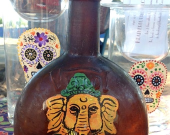 Upcycled Antique Brown Bottle with Orange Ganesh