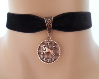 velvet choker, aries choker, aries necklace, stretch ribbon, black velvet, zodiac, copper tone